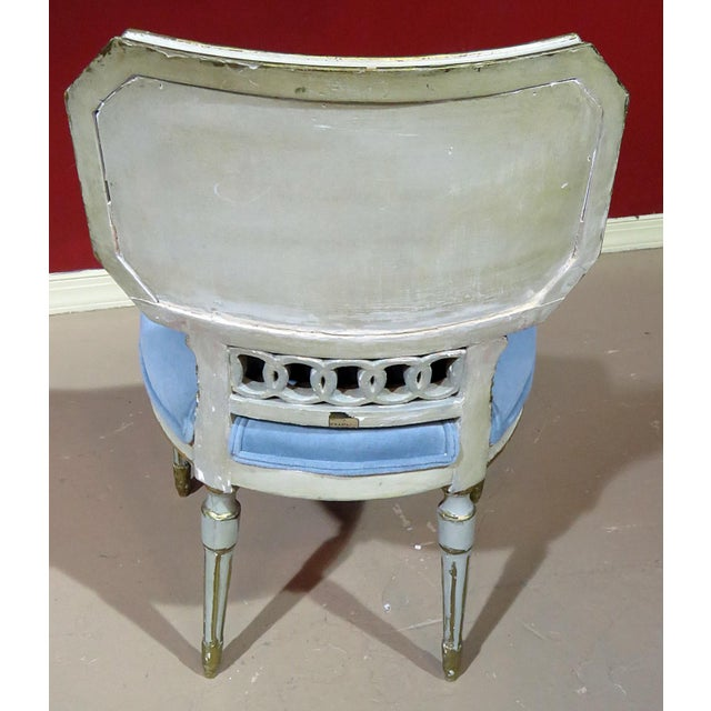 Wood Antique Louis XV Style Distressed Painted Side Chair For Sale - Image 7 of 8
