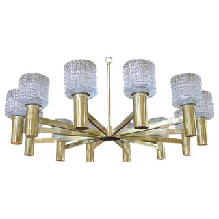 Large-Scale Swedish Chandelier With Cut Crystal Shades by Orrefors For Sale