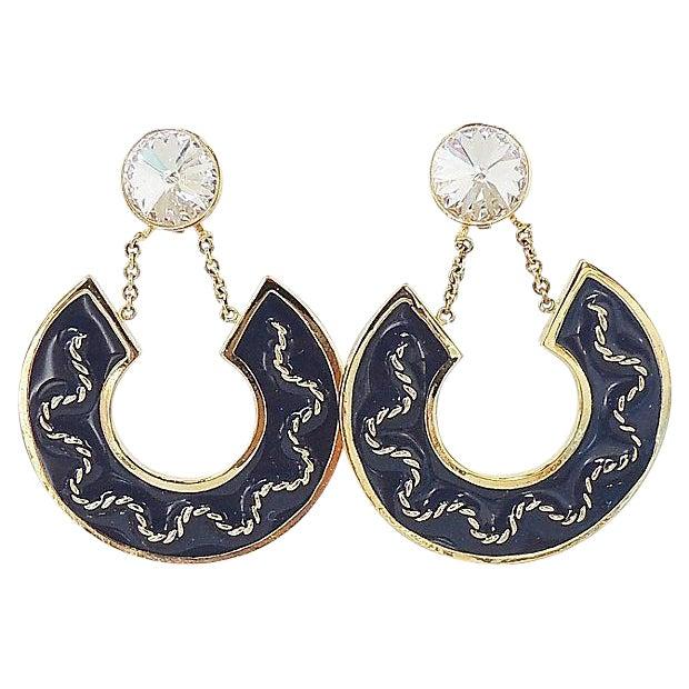 1980s Valentino Rivoli Blue Enamel Earrings For Sale