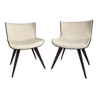 Mid-Century Style Wood Wrapped Accent Chairs- a Pair
