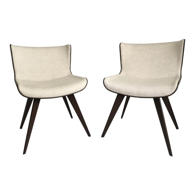Mid-Century Style Wood Wrapped Accent Chairs- a Pair For Sale