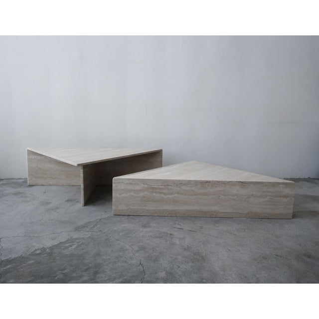 2-Piece Tiered Post-Modern Italian Travertine Coffee Table For Sale In Las Vegas - Image 6 of 10
