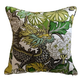 Schumacher Chiang Mai Dragon in Citrus Designer Pillow Cover With Self Weltg, Double Sided For Sale
