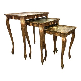 Neoclassical Gilt Italian Nesting Tables - Set of 3 For Sale