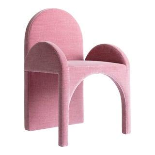Contemporary Arc Armchair Upholstered in Mauve Velvet by Cuff Studio For Sale