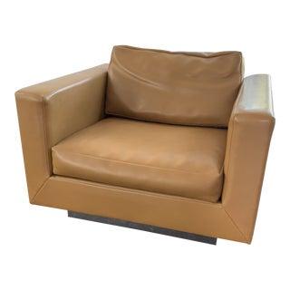 Mid-Century Leather Edward Wormley for Dunbar Tuxedo Chair For Sale