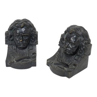 Antique Austrian Bronze Beethoven Bookends - a Pair For Sale