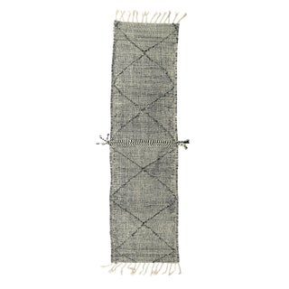 Mid-Century Modern Moroccan Zenefe Black and Ivory Wool Runner For Sale