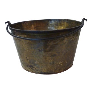 Rustic Hammered Brass Container For Sale