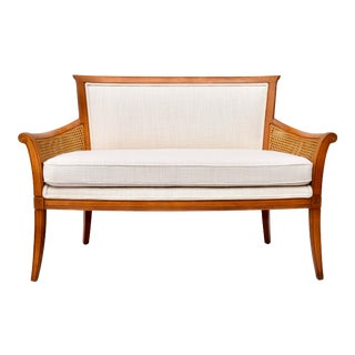Country French Double Caned Loveseat or Settee Made in Italy For Sale