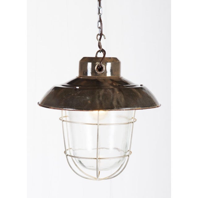 Gray Industrial vintage factory hanging lamp For Sale - Image 8 of 9