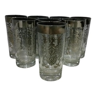Queen's Lusterware Silver Highball Glasses - Set of 8