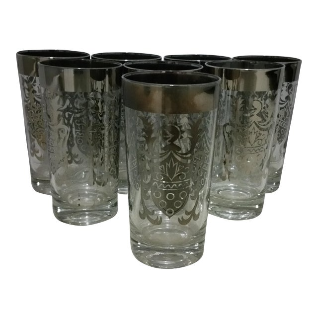 Queen's Lusterware Silver Highball Glasses - Set of 8 For Sale