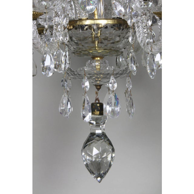 White Anglo Irish Cut Glass Chandelier For Sale - Image 8 of 9