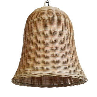 Raw Wicker Bell Pendant Large For Sale