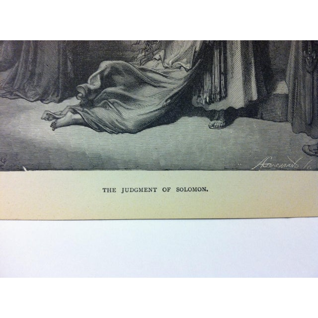 """Abstract Expressionism Antique Gustave Dore Illustrated Print, """"The Judgement of Solomon"""", 1901 For Sale - Image 3 of 4"""