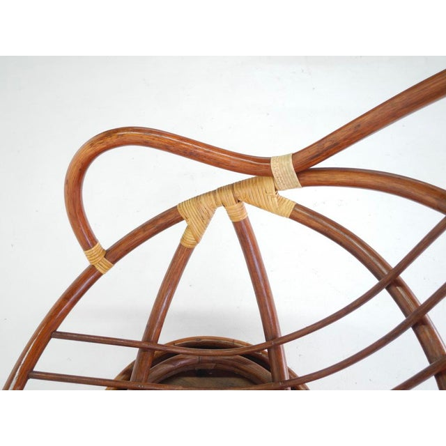 Mid-Century Swivel Rattan Bamboo Pod Chair & Ottoman - Image 5 of 6