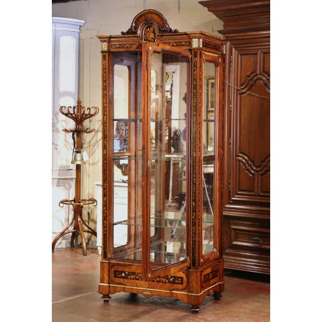 Late 19th Century 19th Century French Louis XVI Walnut Marquetry Vitrine With Glass Sides and Door For Sale - Image 5 of 13