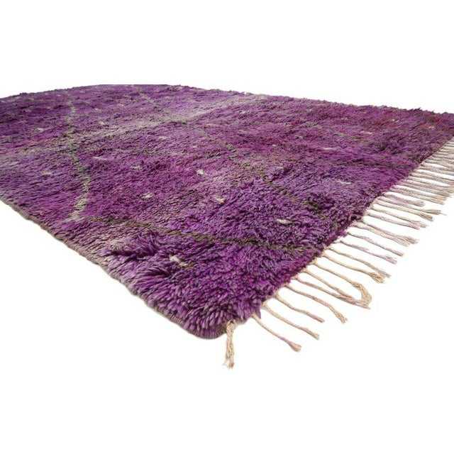 "Berber Tribes of Morocco 20th Century Moroccan Berber Purple Rug with Diamond Pattern - 6'7"" X 10'2"" For Sale - Image 4 of 10"