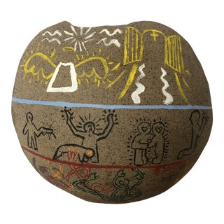 Vintage 1970s Keith Haring Style Hand Painted Stone Tribal Vase For Sale