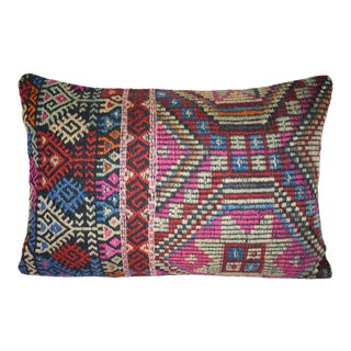 Vintage Cicim Mut Lumbar Pillow Cover 16'' X 24'' (40 X 60 Cm) , Accent Kilim Cushion Cover For Sale