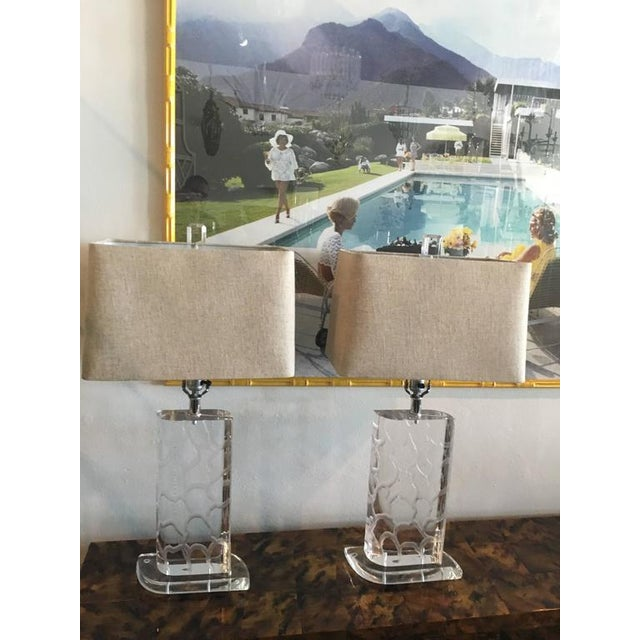 Van Teal Lucite Table Lamps - a Pair - Image 2 of 12