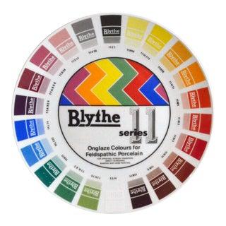 Blythe Factory Porcelain Artist Colour Sample Plate on Rosenthal Porcelain-Onglaze Colours for Feldspathic Porcelain For Sale