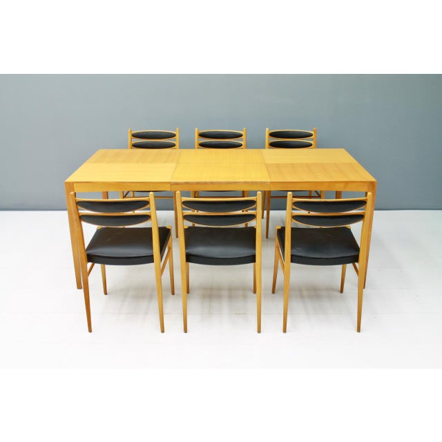 Dining Room Set With Six Chairs in Cherry Wood and Black Leather 1957 For Sale - Image 10 of 10