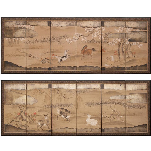 19th Century Late Edo Era Gold Leaf Japanese Byobu Screens- a Pair For Sale
