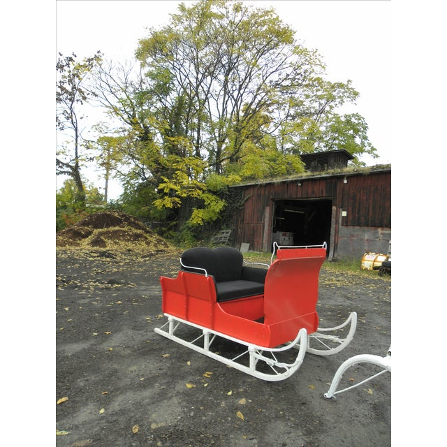 Equestrian Antique Restored Red Holiday Sleigh Sled - Image 5 of 11