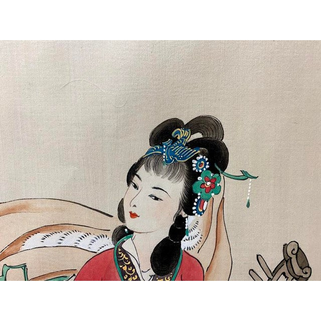 """Olive Vintage """"Four Beauties"""" Chinese Silk Scroll Painting For Sale - Image 8 of 12"""