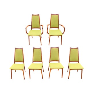 1960's Danish Modern Adrian Pearsall Style Teak Avocado Green Tweed Dining Chairs - Set of 6 For Sale