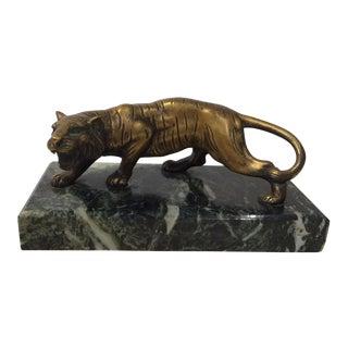 Bronze Tiger Sculpture on Marble Base For Sale