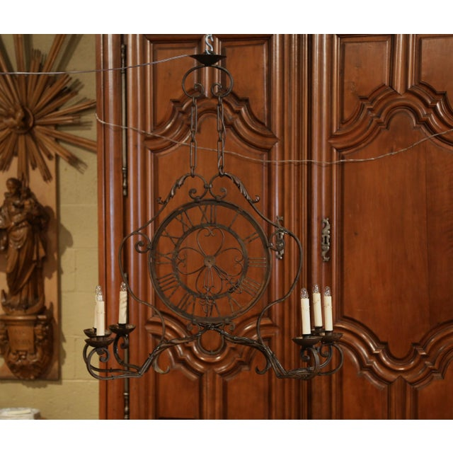 Early 20th Century French Six-Light Iron Clock Chandelier With Original Finish For Sale - Image 10 of 10