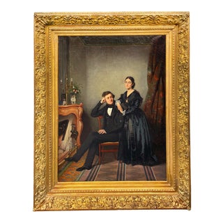 19th Century French Portrait of a Man and Woman Oil Painting by Antoine Gibert, Framed For Sale