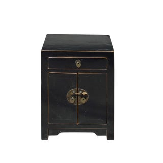 Oriental Distressed Semi Gloss Black Lacquer Side End Table Nightstand