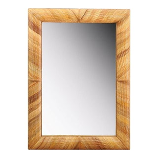 Beautiful Restored Vintage Mirror in Bamboo For Sale