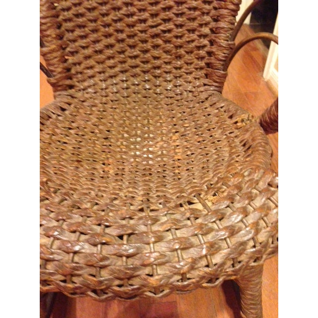 Mfg Vintage Child's Rocking Chair - Rush Weaving - Excellent Condition For Sale - Image 10 of 11