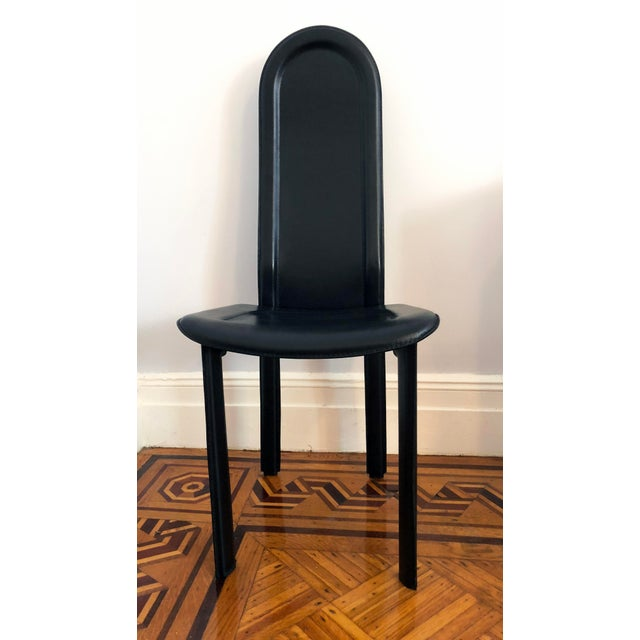 Contemporary Modern Black Leather Artedi Chairs - Set of 4 For Sale - Image 3 of 11