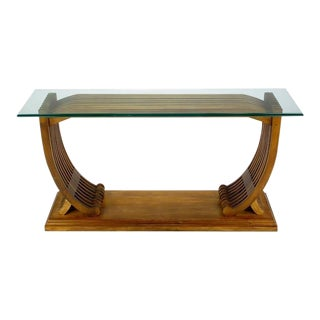 Studio Crafted Teak and Glass Shipwright Console Table For Sale
