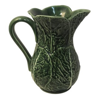 Vintage Green Cabbage Majolica Pitcher For Sale