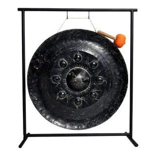 Bronze Temple Gong on Stand For Sale