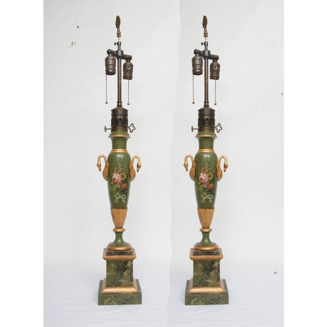 Pair of Victorian Painted Tole Lamps - Image 9 of 9