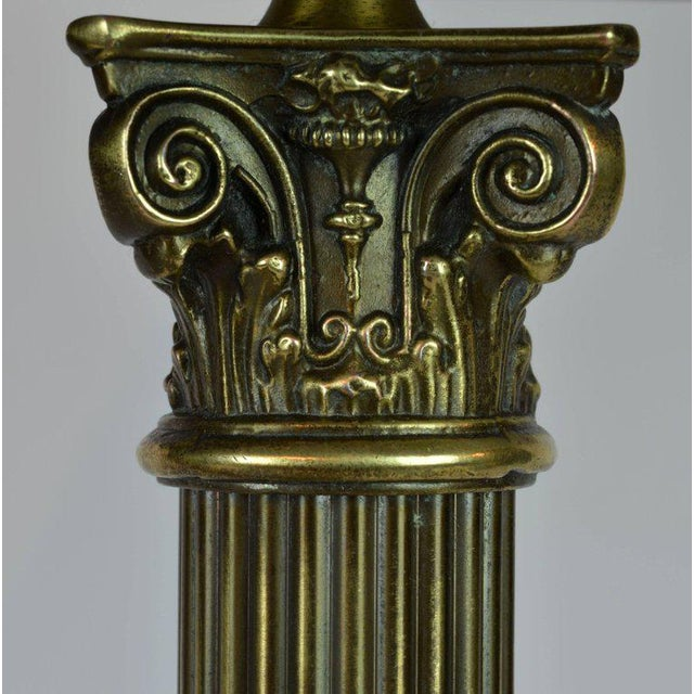 Classic Bronze and Marble Twin Corinthian Column Desk Lamp For Sale In Miami - Image 6 of 11