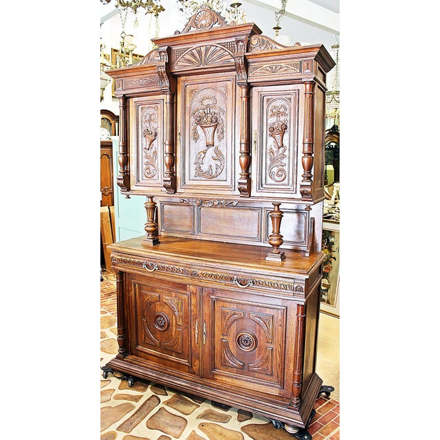 French Rococo Hand-Carved Hutch - Image 3 of 9