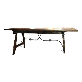 19th Century Spanish Carved Walnut Writing Desk For Sale