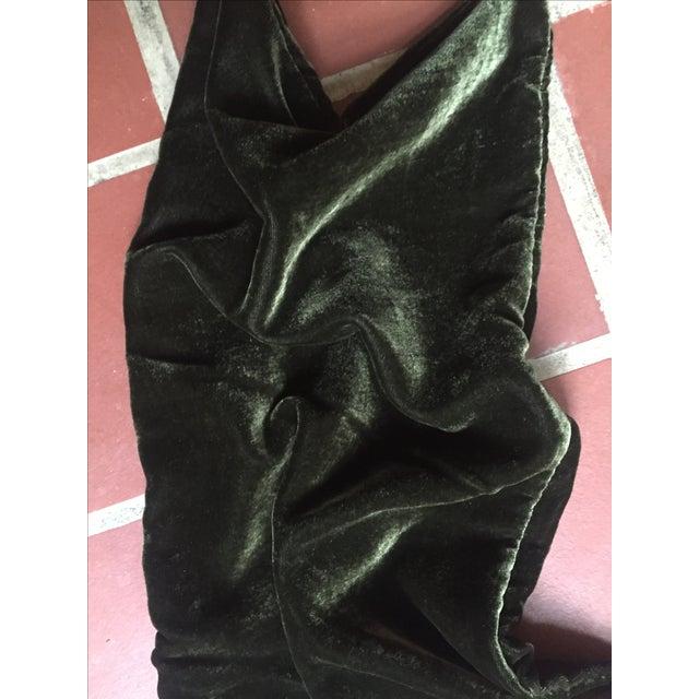 Moss Green Silk Velvet Lumbar Pillow Cover For Sale - Image 9 of 10