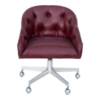 Tufted Burgundy Chair by Shelby Williams For Sale