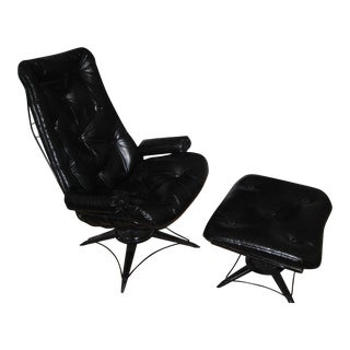 Homecrest Mid-Century Lounge Arm Chair & Ottoman For Sale