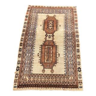 "Vintage Beige Wool Turkish Anatolian Rug - 4' 6"" x 7' 6"""